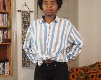 341e3d774088e Coliseum White Blue and Grey Striped Longsleeve Button Up Jean Shirt