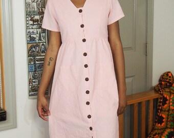 a0a53cde5 Baby Pink Merokeety Maxi   Midi Spring Dress Size Medium Vneck With Pockets