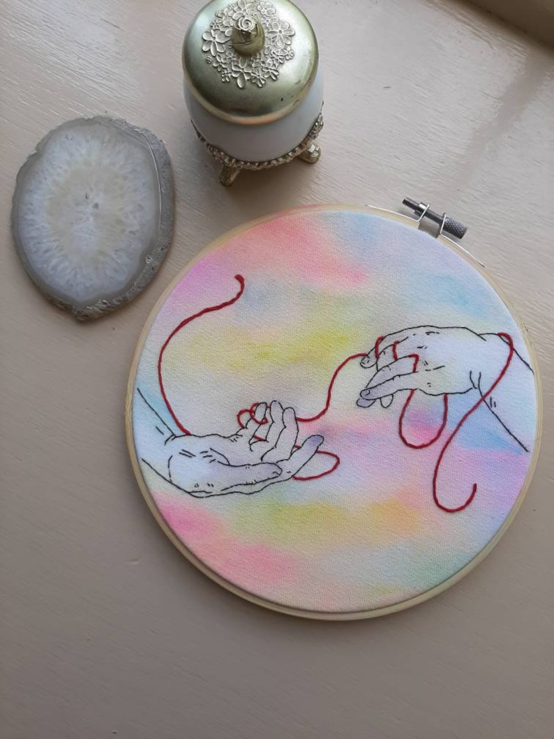 Creation of Adam inspired hand embroidery finished Michael Angelo embroidery hands embroidery red thread gift embroidery hoop