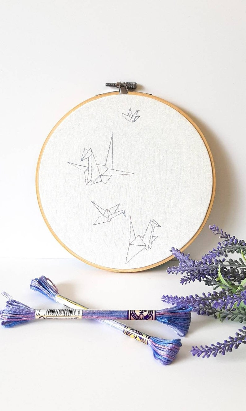 Paper Cranes finished embroidery hoop finished wall decor origami embroidery design surreal art