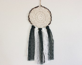 Ivory and Forest Green Crochet Dream Catcher