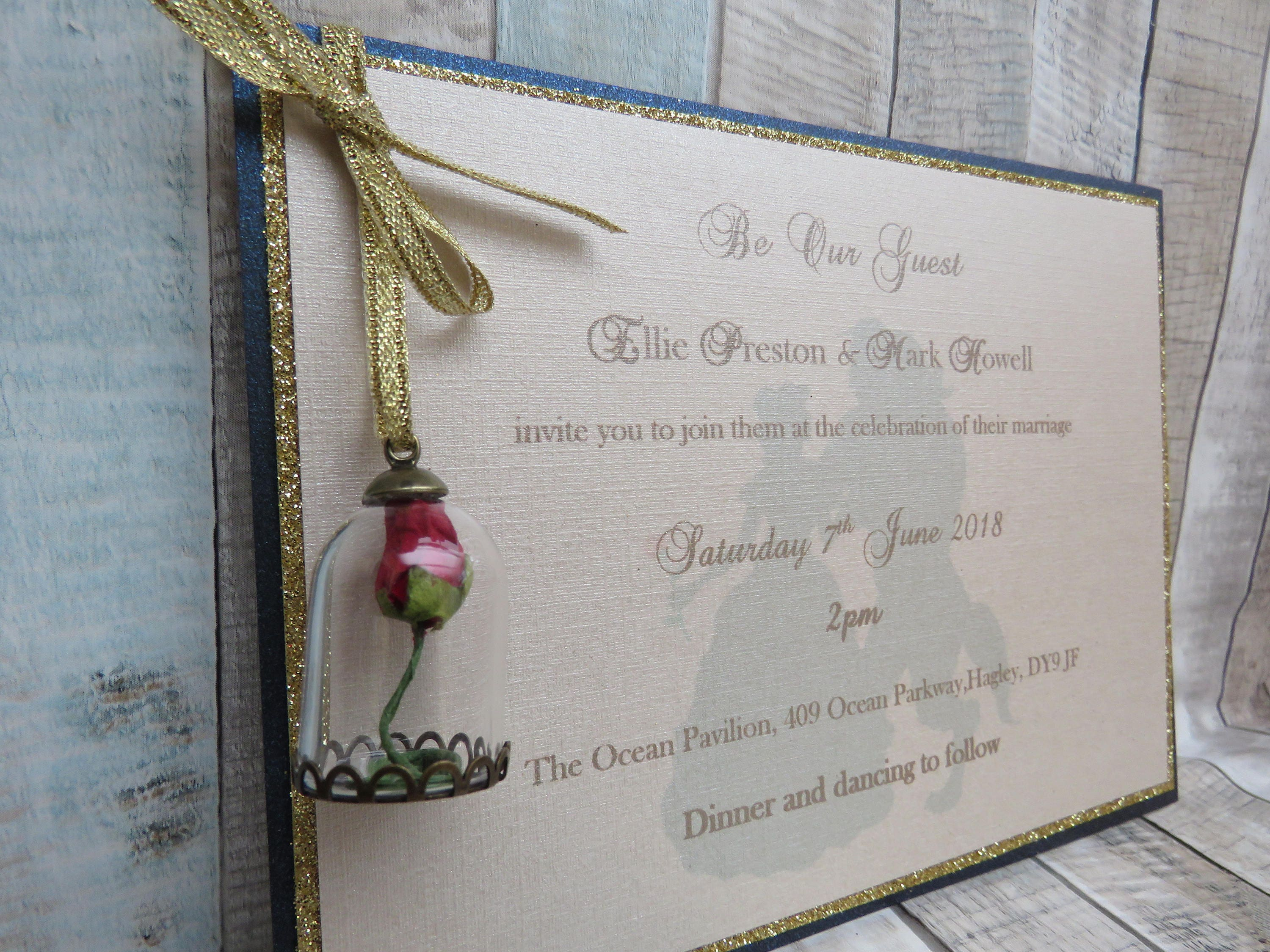 Beauty And The Beast Themed Wedding Invitations: Beauty & The Beast Themed Luxury Wedding Invitation With