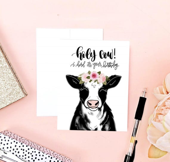 Cow Birthday Card Funny Birthday Card Cow Art Punny