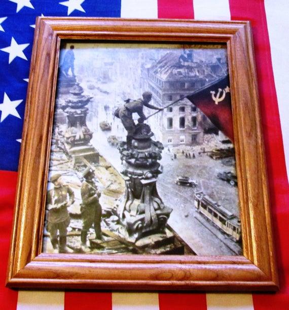 Framed World War Two Photograph, WW2, Soviet Flag over Nazi Reichstag, Berlin
