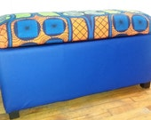 Recovered reupholstered storage Ottoman