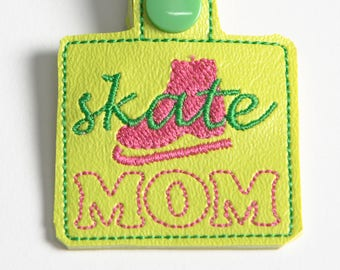 Skate Mom Bag Tag Snap Key Fob Key Chain, Embroidered Vinyl in Your Choice of 6 Colors with Snap, Skater Gift, Ice Skating Gift