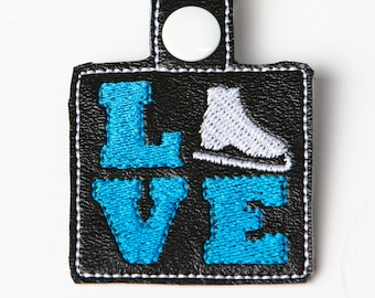Love Skate Snap Key Fob Key Chain, Embroidered Vinyl in Your Choice of 6 Colors with Snap, Skater Gift, Ice Skating Gift