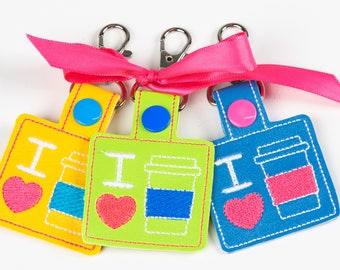 I <3 Coffee Bag Tag Snap Key Fob Key Chain, Embroidered Vinyl in Your Choice of 6 Colors with Snap, Love Coffee Gift, Coffee Lover Gift