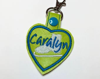 PERSONALIZED Skater Heart Snap Key Fob Key Chain, Embroidered Vinyl in Your Choice of 7 Colors with Snap, Skater Gift, Ice Skating Gift