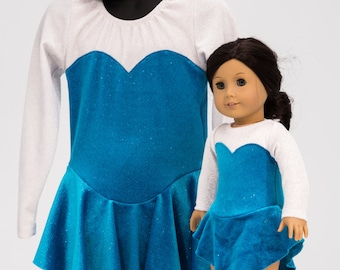 "SPECIAL SET - Girl & Doll Ice Skating Dress - Blue Frost Matching Set Girls 6 or Small - American Girl and other 18"" Dolls"