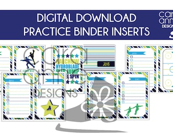 DIGITAL DOWNLOAD Figure Skater Practice Binder Page Inserts Green Yellow Blue Male Skater