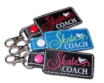 Skate Coach Bag Tag Snap Key Fob Key Chain, Embroidered Vinyl in Your Choice of 6 Colors with Snap, Skater Gift, Ice Skating Gift