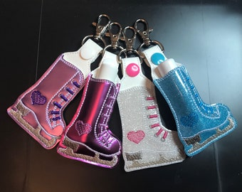 Ice Skate Lip Balm Holder Key Chain, Embroidered Vinyl in Your Choice of 4 Colors with Snap, Skater Gift, Ice Skating Gift, Figure Skating