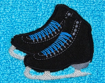 CUSTOM Personalized Embroidered Ice Skate Towel - BLACK Skates
