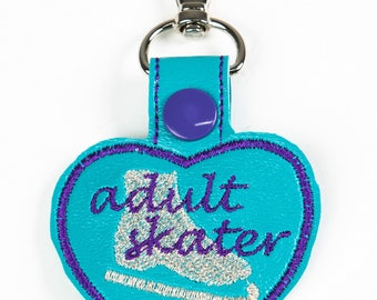 Adult Skater Heart Snap Key Fob Key Chain, Embroidered Vinyl in Your Choice of 6 Colors with Snap, Skater Gift, Ice Skating Gift