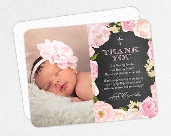 Pink Baptism Thank You Cards, Baptism Thank You Cards with Photo, Christening Thank You Cards, Flower Baptism Thank You Cards, Chalk Baptism