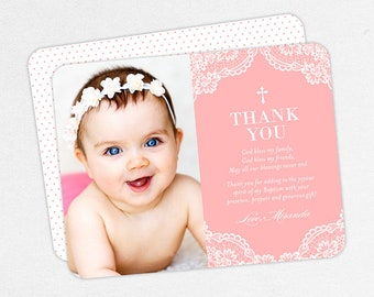Pink Baptism Thank You Card, Girl Baptism Thank You Cards, Baptism Photo Thank You Card, Lace Baptism Thank You, Printable Baptism Thank You