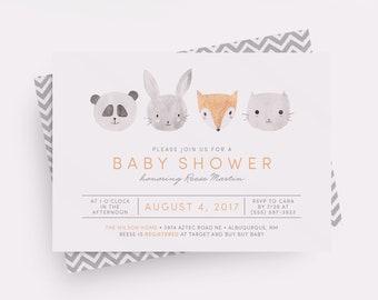 Woodlands Baby Shower Invitation, Neutral Baby Shower Invitation, Boy Baby Shower Invitation, Animal Baby Shower Invitation, Printable, PDF