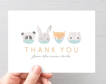 Virtual Baby Shower Thank You Card, Quarantine Baby Shower Thank You Card, Animals Thank You Card, Woodlands Shower, Drive By Shower, VS001