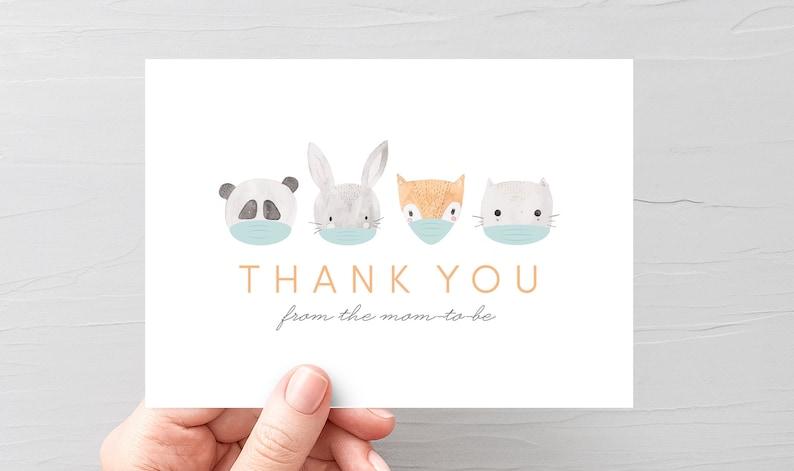 virtual baby shower thank you card quarantine baby shower