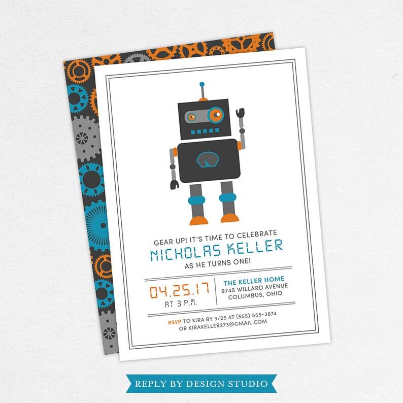 Robot First Birthday Invitation Kids
