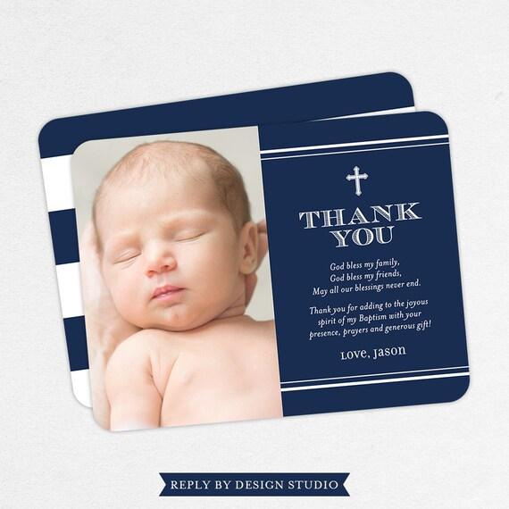 Boy Baptism Thank You Cards Navy Baptism Thank You Cards Etsy