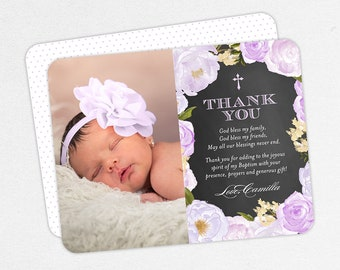 Girl Baptism Thank You Cards, Baptism Thank You Cards with Photo, Christening Thank You Cards, Flower Baptism Thank You Cards, Printable