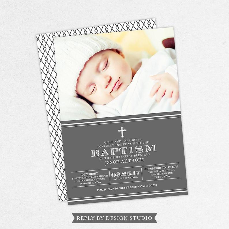 Print Yourself Baptism Invitation Christening DIY Gray With Photo 5x7