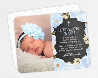 Blue Baptism Thank You Cards, Baptism Thank You Cards with Photo, Christening Thank You Cards, Printable Baptism Thank You, Floral Baptism