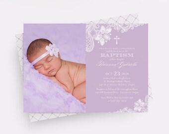 Photo Baptism Invite in Purple, Baptism Invitation for a Girl, Lace Baptism Invitation, Rustic Baptism Invitation, Purple Lace Christening