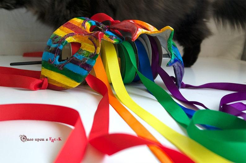 LGTBT pride masks Venetian mask handcrafted in papier mache celebrating gay pride.