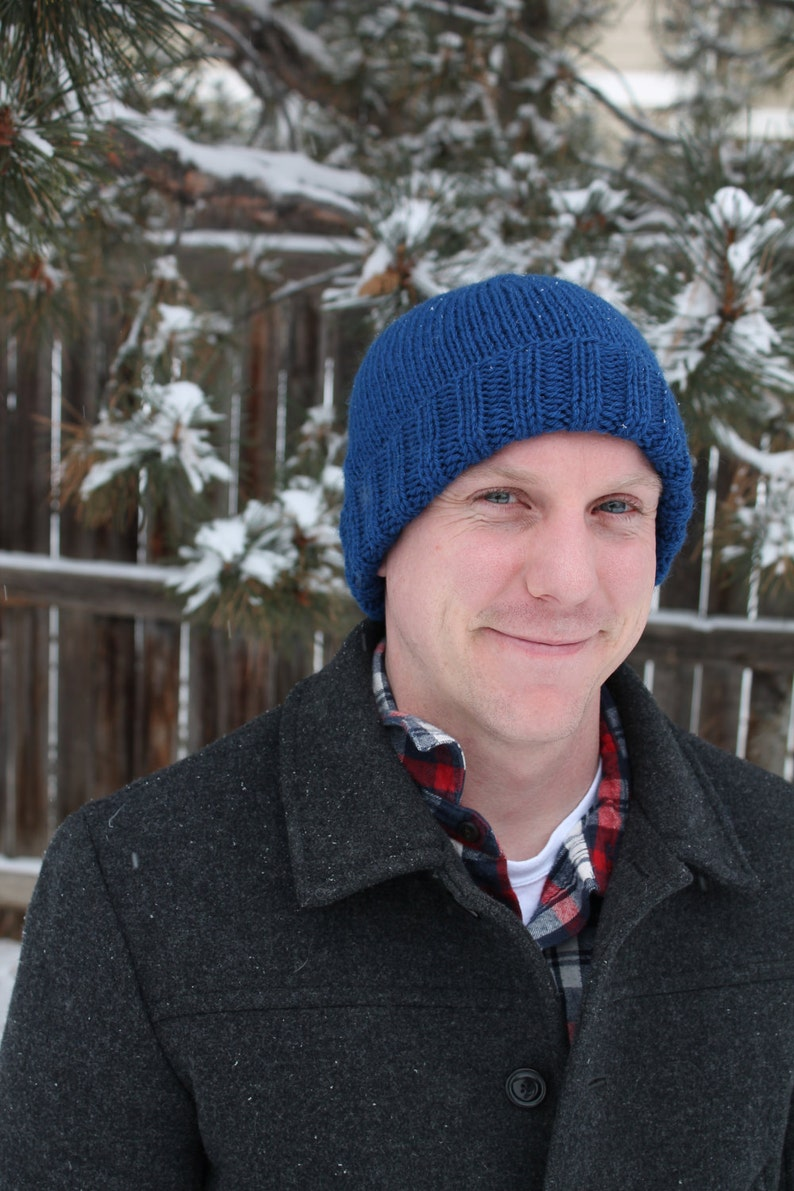 Handknit Classic Beanie with Rolled Brim in Blue