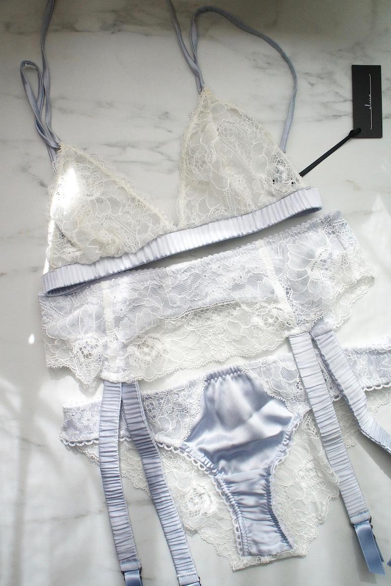 Daphne White Lace and Blue Silk Bikini Brief Panty