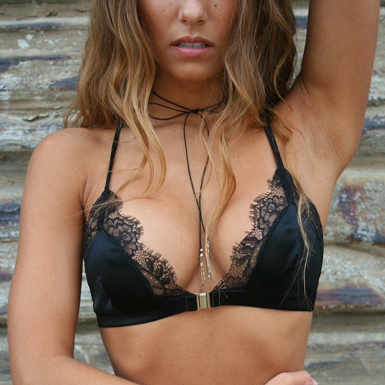 Silk and Lace Front Close Bralette  Handmade by Elma image 0