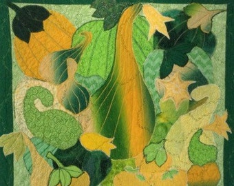 Quilt Wallhanging Squash and Gourds Fall /Autumn Quilt, Appliqued Gorgeous Green Gourds  quilted wallhanging