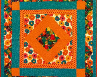 Quilt, Bright colorful handmade patchwork baby quilt or table topper with multi color frog design