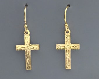 Gold Cross Earrings Gold Cross Elegant Earrings 14k Gold Filled Religious Earrings Cross Christian Jewelry Confirmation Gift