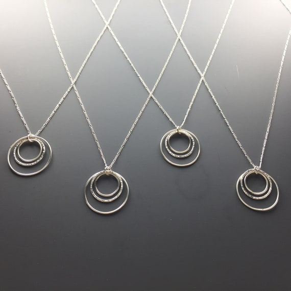 Gift for Mom Textured Sister Sterling Silver Daughter Friend Three Hammered Circle Necklace