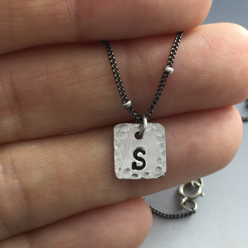 Sterling Silver Square Initial Necklace Layerd Necklace Gift for Her Sterling Silver  Personalized Initial Initial Necklace Engrave