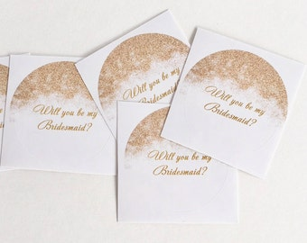 Gold tone will you be my bridesmaid/maid of honor bridal party gift stickers.