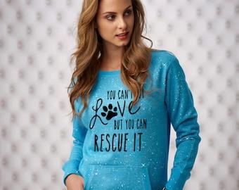 XXL  Maui Blue You Can't Buy Love Sparkle Women's Glitter Crewneck Sweatshirt