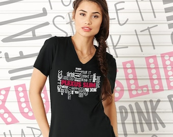 CLEARANCE - Black Plexus Wordle V-Neck Tee 72018MT