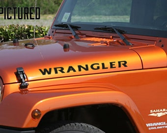 Side Hood Rubicon Style Custom Color Text Jeep Wrangler (9 Fonts Available)