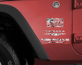Set of 2 - Full Fender Replacement Set of Jeep Wrangler American MARPAT Marines Arctic White Grey Gray Camo Flag Decals OEM