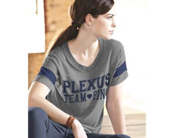 Plexus Team Pink Gray Navy Football Tee 78047JH | Pink Drink | Team Pink | Plexus Tee | Plexus Shirt | Plexus Top | Team Tee | Gift for Her