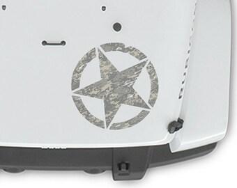 "Jeep Wrangler 20"" Oscar Mike Hood Combat Army Camo Print Star Decal Camoflauge Sahara | JKU JK | Unlimited | Rubicon"