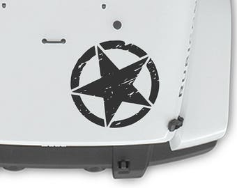 "Jeep Wrangler 20"" PRINTED Oscar Mike Hood Blackout Army Star Decal 3M Matte Black"