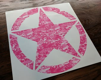 "Jeep Wrangler 20"" Oscar Mike Hood Army Pink Camo Print Star Decal Magenta Camouflage"