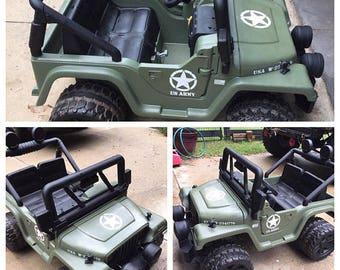 Kid Jeep Wrangler US Army Star Decal Kit Matte Black Custom Text Hood Serial Numbers Hot Wheels Hotwheels