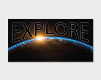 Space NASA Explore Sunrise Earth Bumper | Laptop Sticker | Laptop Decal | Area 51 | ET | Extraterrestrials |  Space Sticker | Space Decal